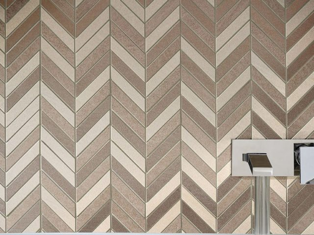 Brave Chevron Mosaic Ivory, Beige, Brown Installation