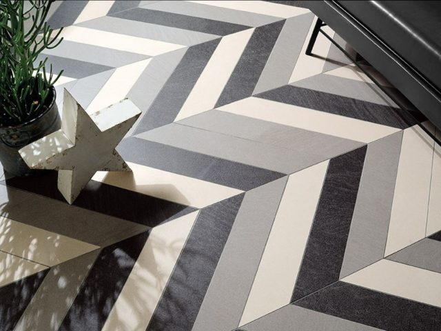Brave Chevron Mosaic Ivory, Light Grey, Dark Grey Installation