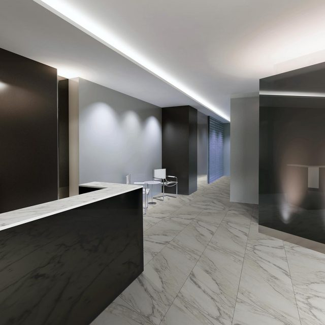Incomparable Glazed Porcelain Tile Collection - Arabescato Installation