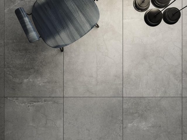 Indurate Collection Glazed Porcelain Grey Tile Installation