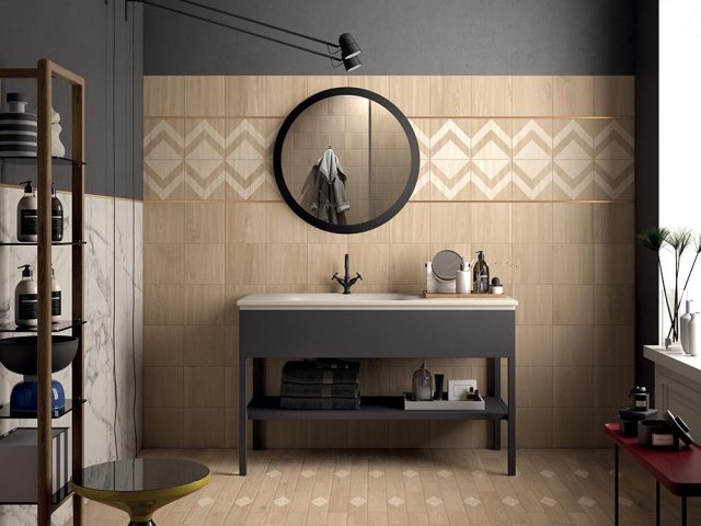 Madera Scandinavian-Style Porcelain Tile Collection - Elmwood Installation