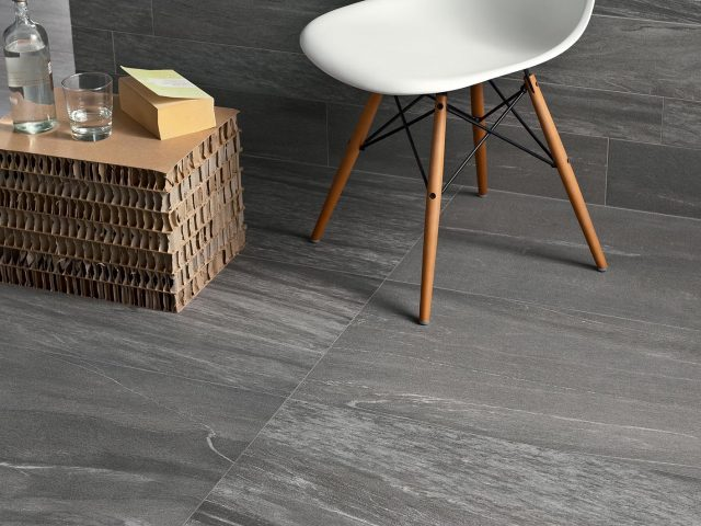 Pietra Valmalenco Through Body Tile Collection - Antracite Installation