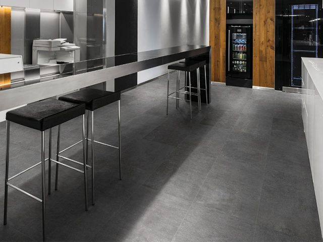 Assent Porcelain Tile Installation in Dark Grey