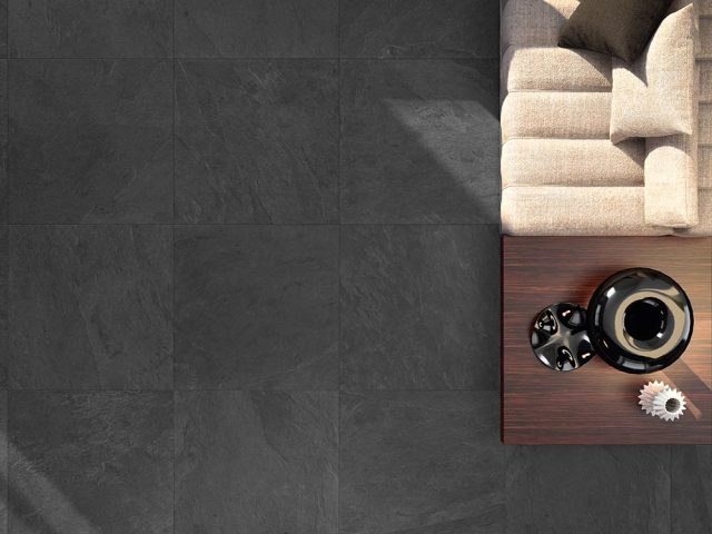 Cascade Slate Look Porcelain Tile Collection Black 36x36