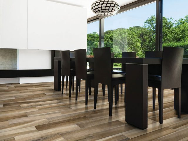Dimensional Wood-Look Porcelain Tile Collection Natural Installation