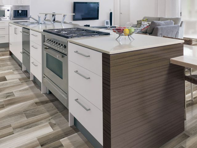 Dimensional Wood Look Blend Porcelain Tile Installation