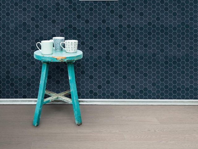 Placid Hex Mosaic Porcelain Tile Collection - Blue Mix Installation