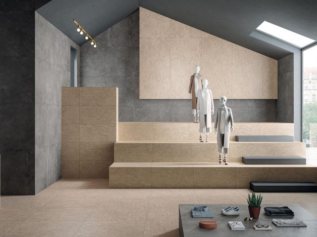Plywood Porcelain Tile Collection - Beige Installation