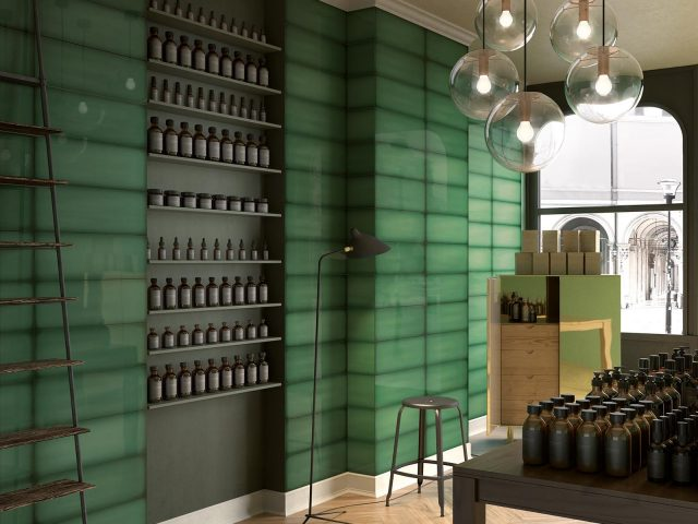 Slide Multicolored Wall Tile Collection - Emerald Installation